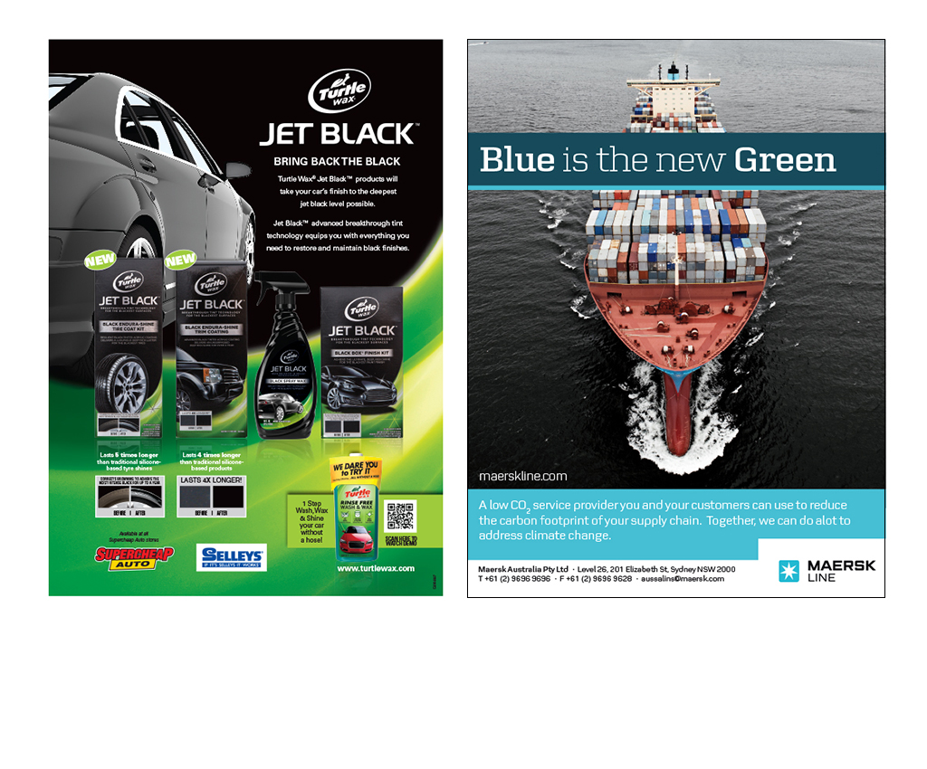 Turtle Wax and Maersk advertisements